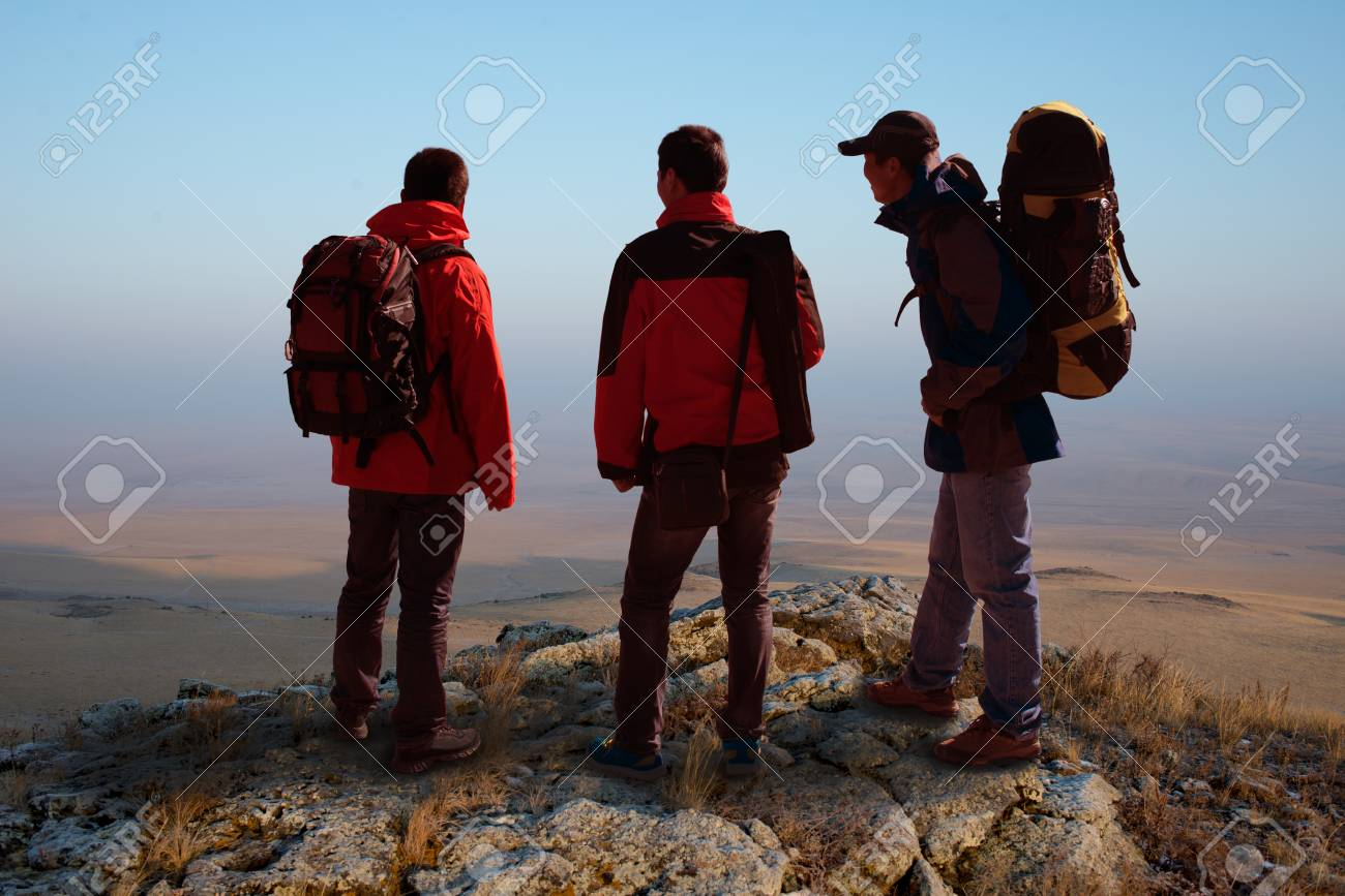 Trekking In Mountains Greet The Morning Sun Stock Photo Picture