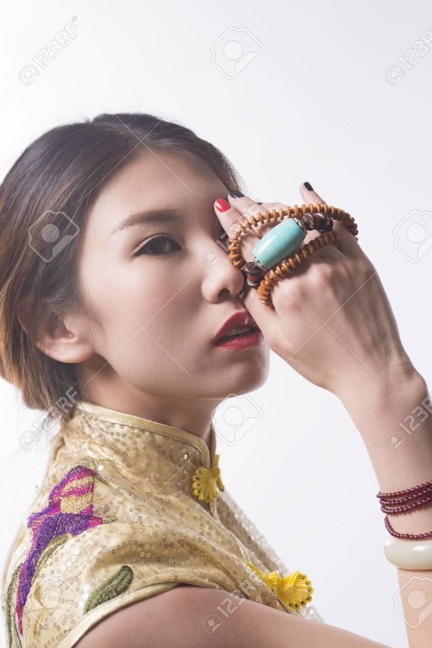 Closeup Chinese Girl Wearing Turquoise Necklace Cheongsam Stock