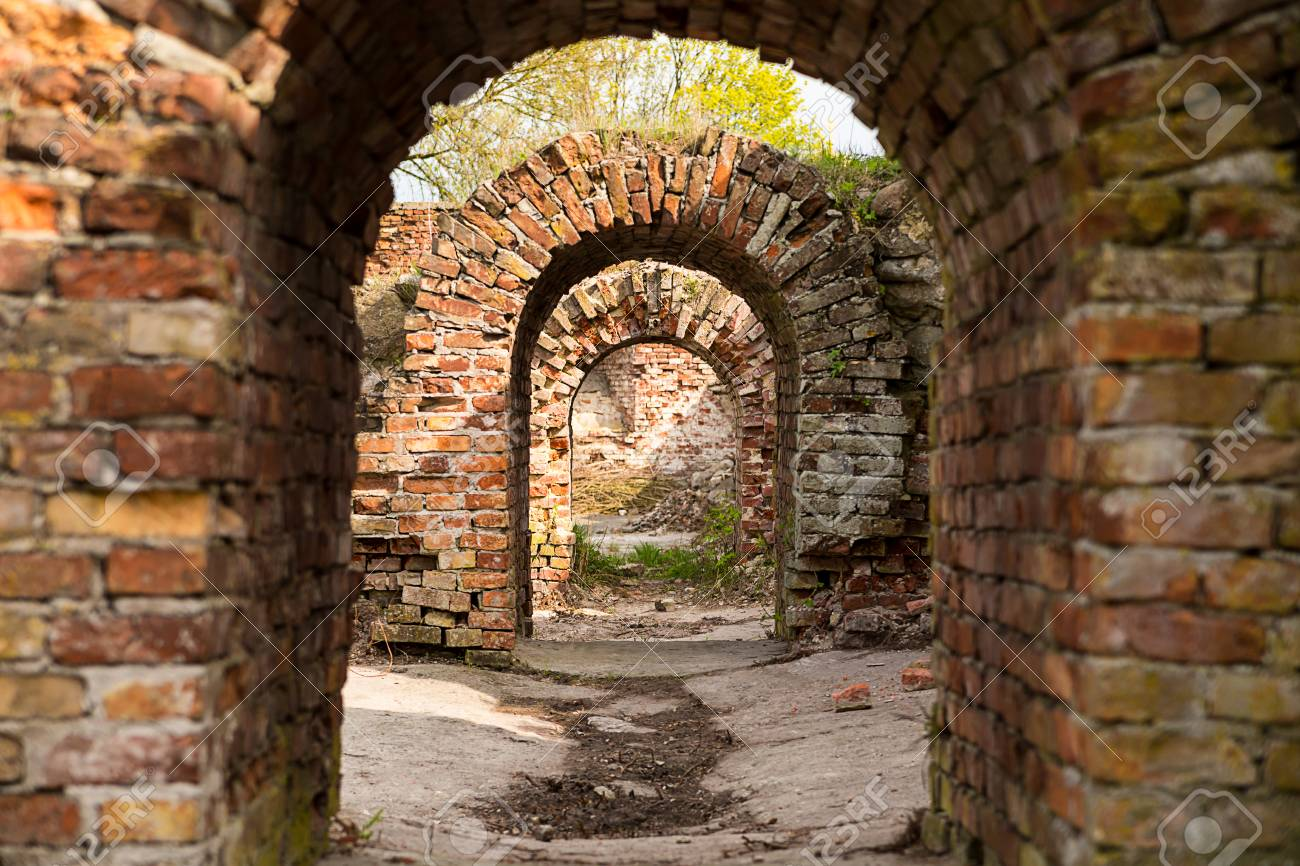 Maze Ruins Arched Passage Old Building Made Of Bricks Stock Photo