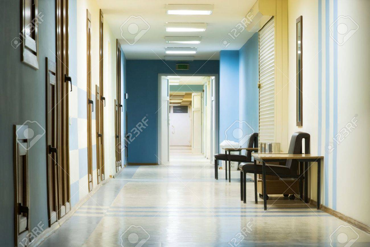 reception in hospital with corridor at night. Stock Photo - 9357976