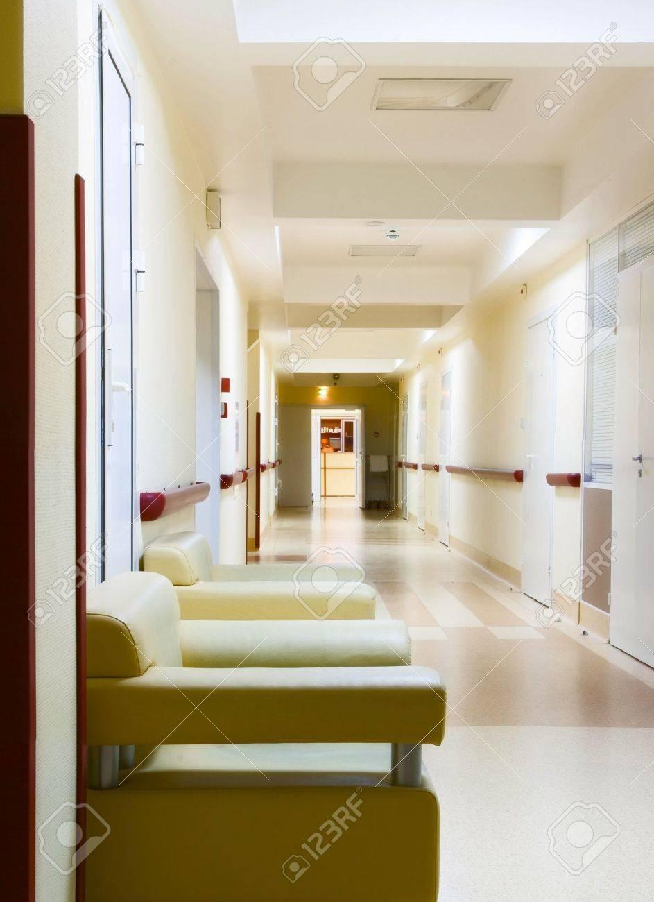 long yellow corridor in hospital Stock Photo - 9351273