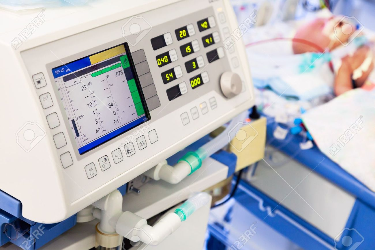 artificial lung ventilation in pediatric icu stock photo, picture