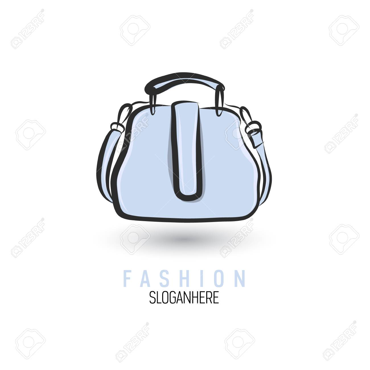 hand drawn bag icon or logo template handbag sketch royalty free