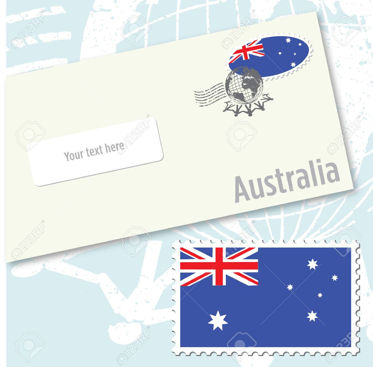 australia country flag stamp and envelope design royalty free