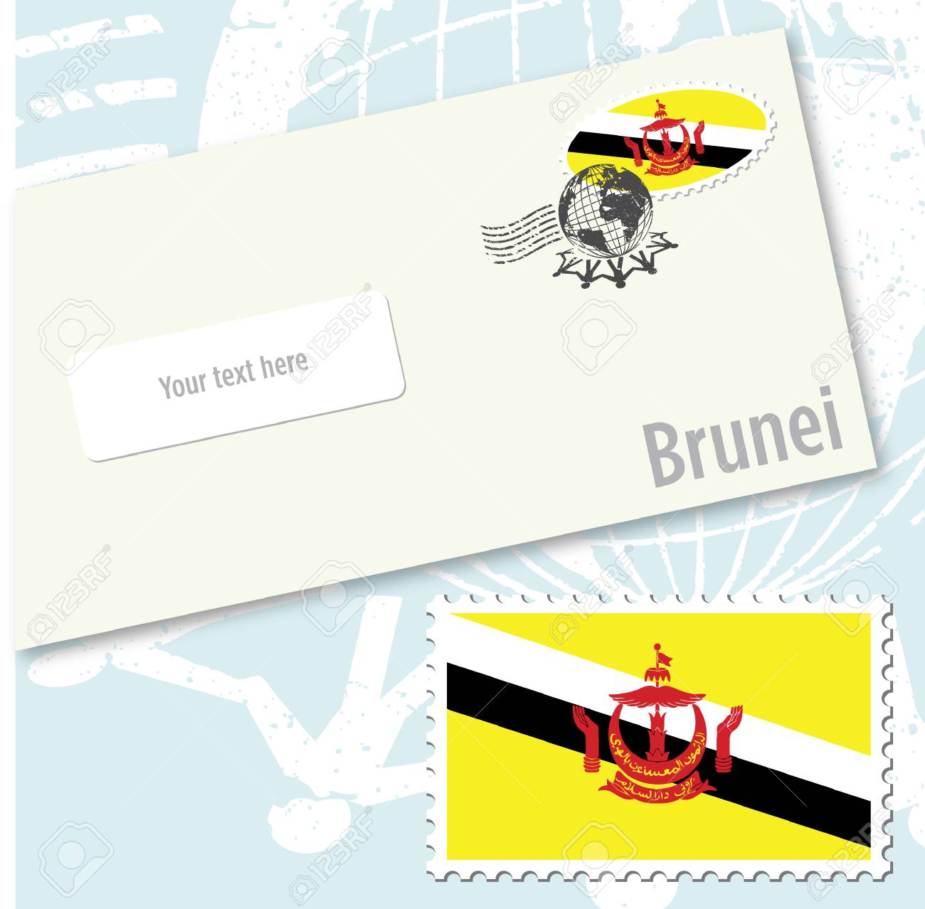 Brunei country flag stamp and envelope design