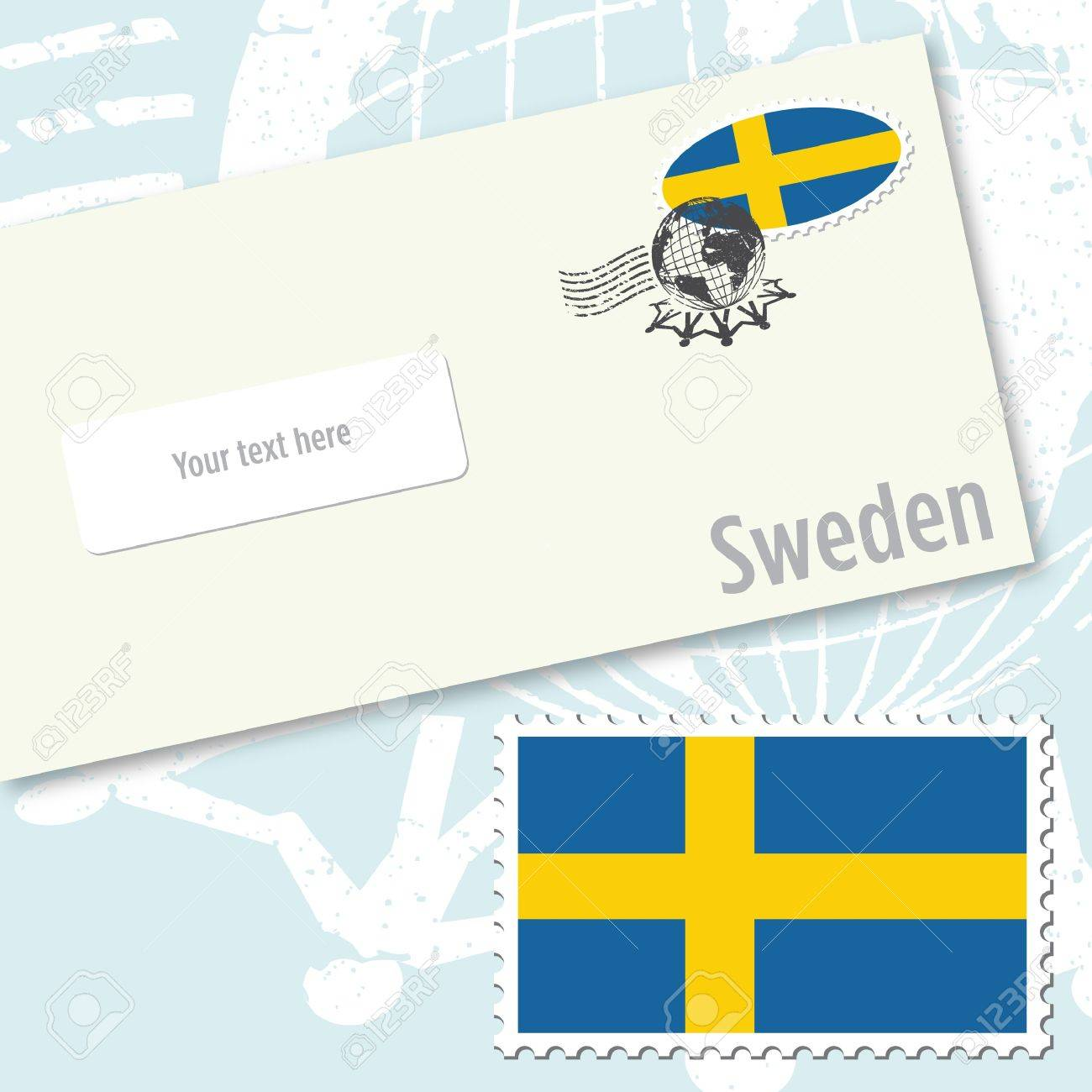 Sweden envelope design with country flag stamp and postal stamping Stock Vector - 9082282