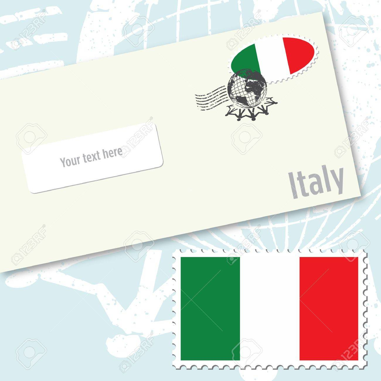 Italy envelope design with country flag stamp and postal stamping Stock Vector - 9117238