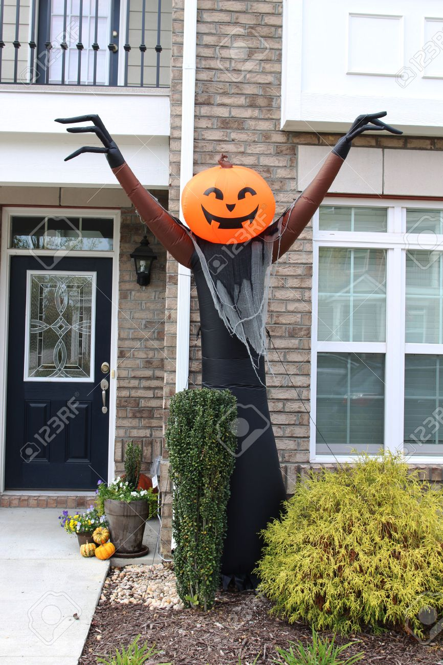 Pumpkin-head Blow Up Doll. Halloween Front Door Decorations Stock ...