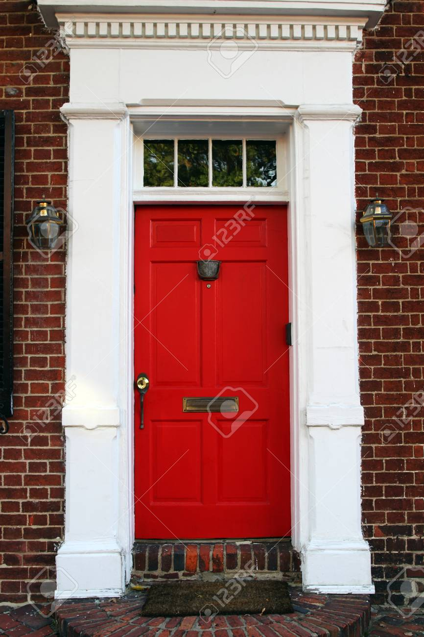 A Red Front Door Of A Colonial Style House Stock Photo Picture And Royalty Free Image Image 88184547