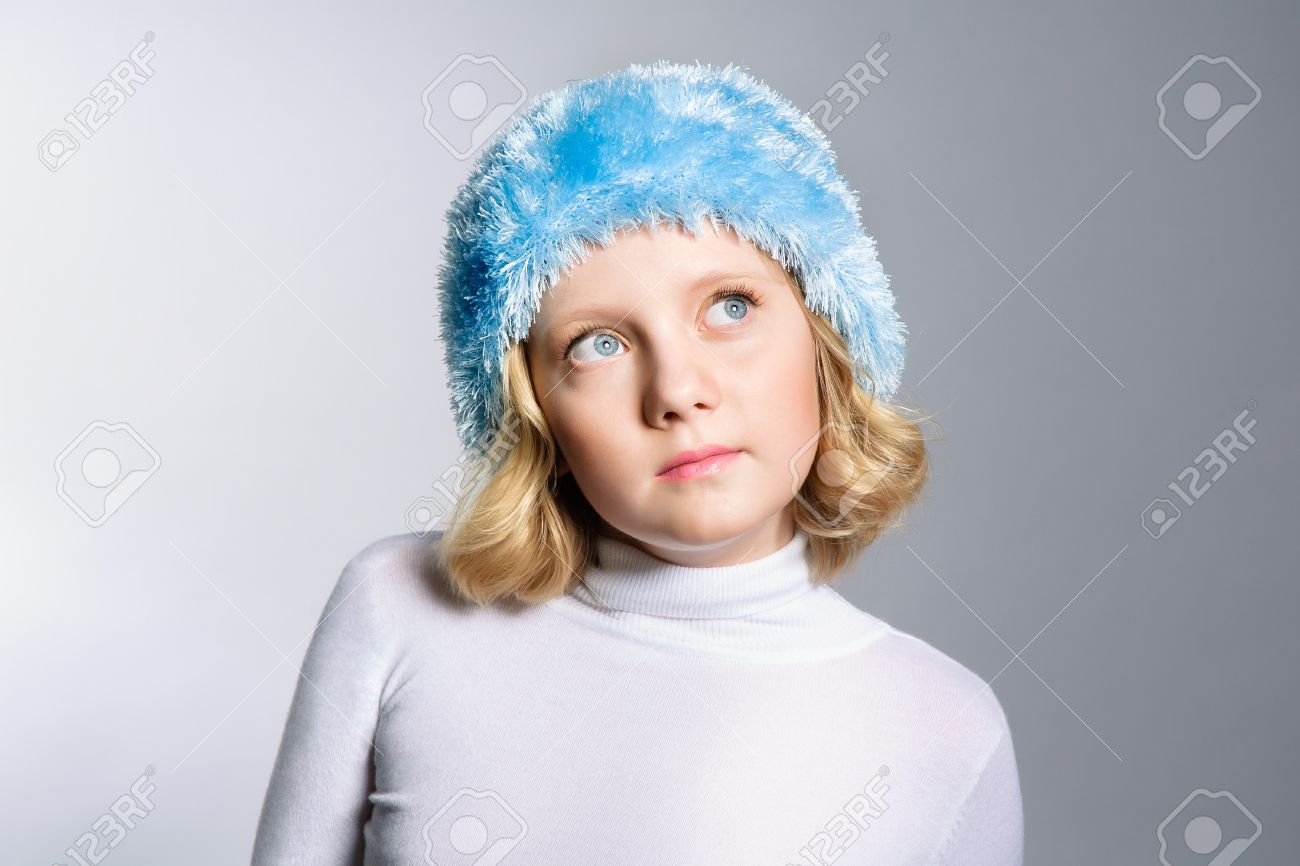 2baa9ea4c77bf Cute preteen girl looking up to side The Christmas dreams concept Stock  Photo - 15412366