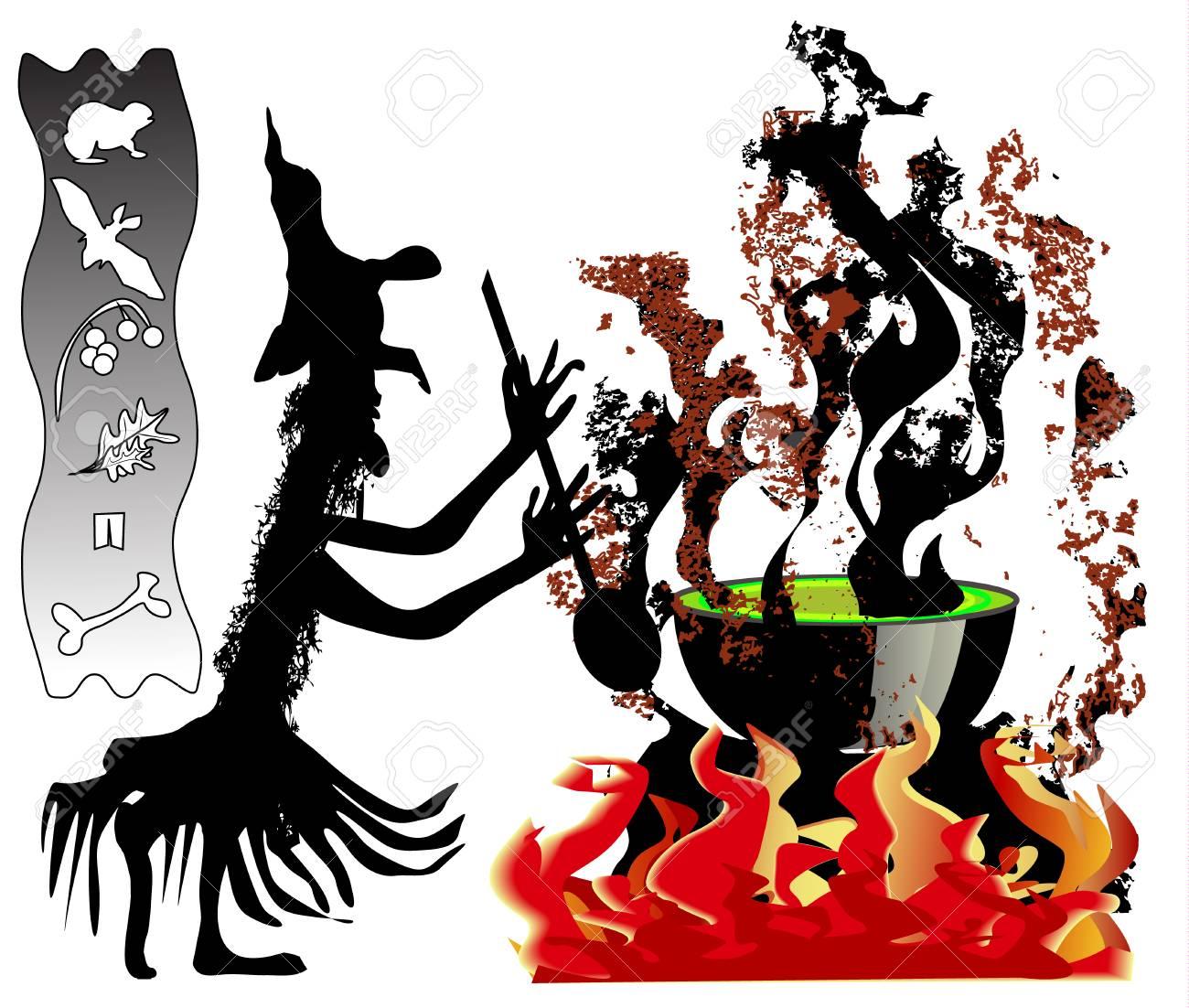 Sorcière Halloween Avec Chaudron Clip Art Libres De Droits