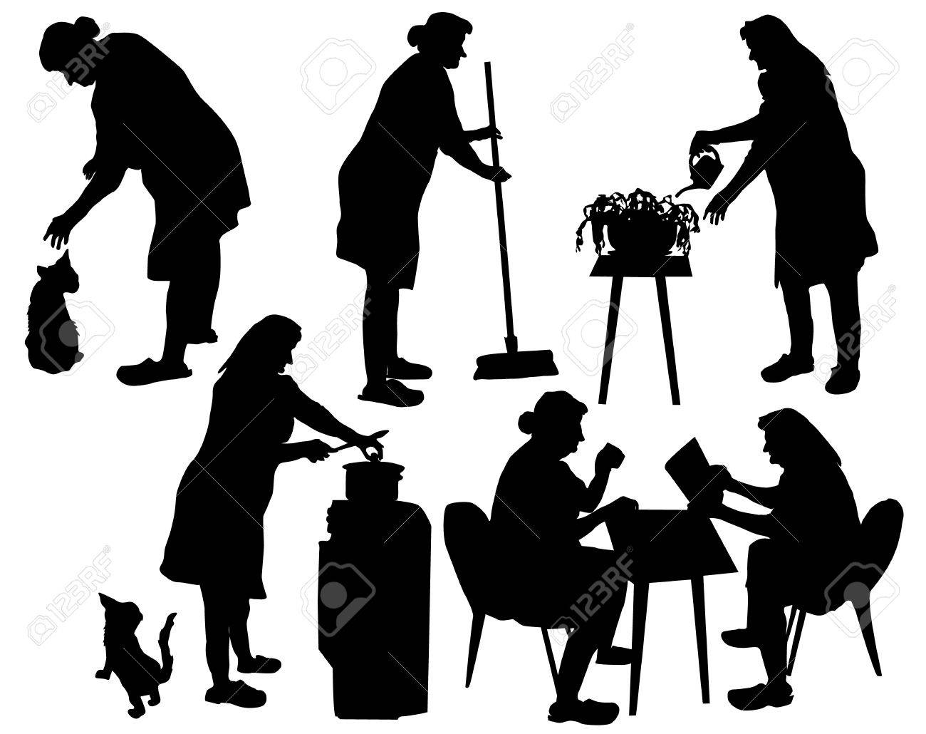 Silhouettes Of Grandmother Taking Care Household And Relaxing