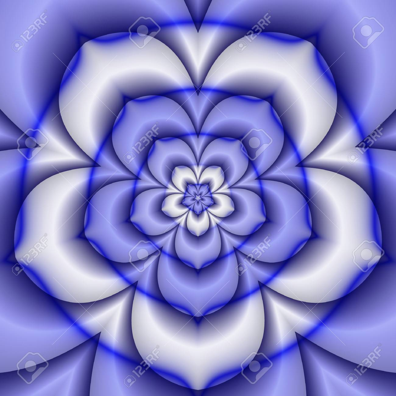 Abstract Background Of Concentric Blue And White Flower Creating The  Illusion Of A Three Dimensional Object