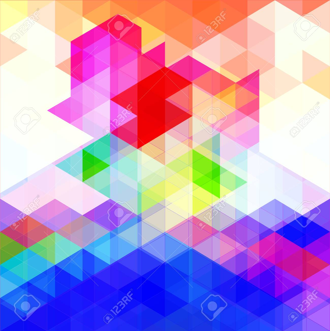 Abstract Triangular Background With Blue Red Green Yellow