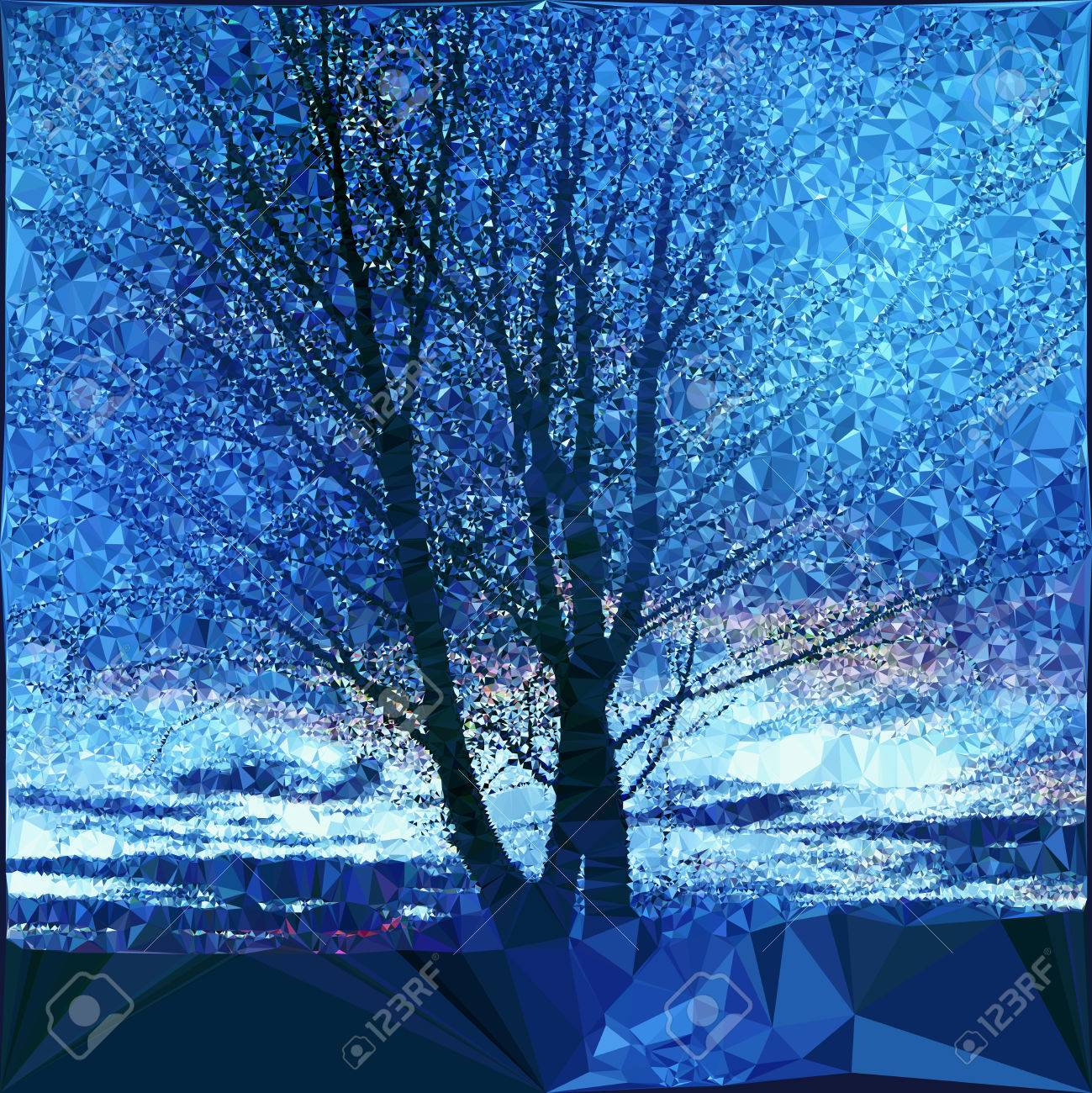 裸木のあるノスタルジックな冬景色 空と木のシルエットに多角形の青と白の風景のイラスト素材 ベクタ Image