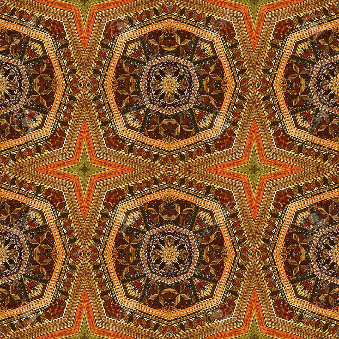 Caleidoscopico Mosaico Senza Soluzione Di Continuità In Legno Con Le ...