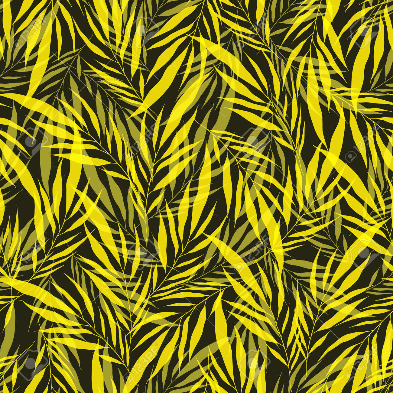 Minimalistic yellow transparent leaves palm tree on green backdrop. Vintage exotic collage tropical plants seamless pattern. Contemporary vector decoration art. Tropic chaos illustration. - 166173792