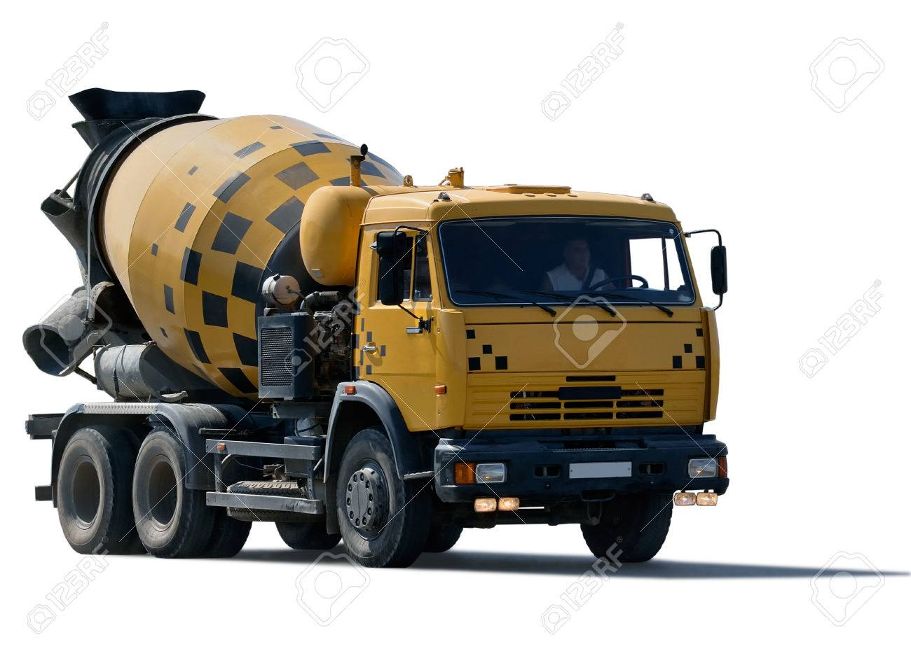 cement mixer truck isolated on white background stock photo