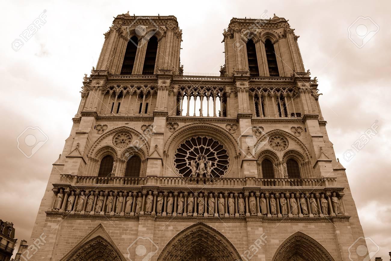 Notre Dame De Paris Cathedral Retro Style In Sepia Color Paris