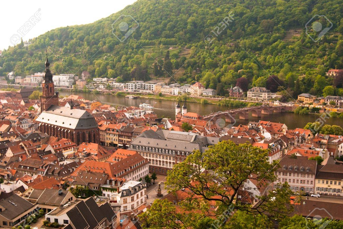 Fotografie Heidelberg heidelberg town bridge and the church baden wuerttemberg