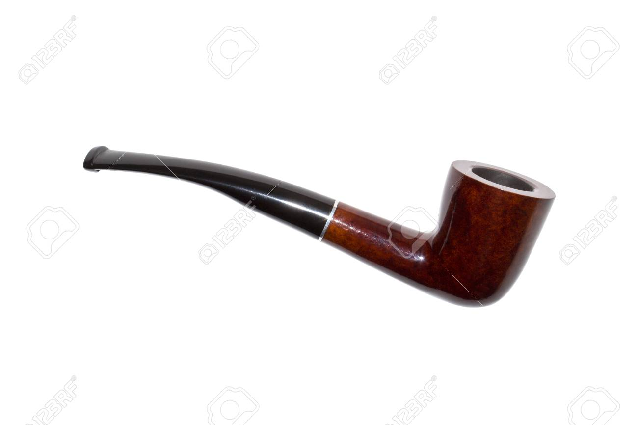 Smoking pipe made of wood isolated on white background. - 113883525