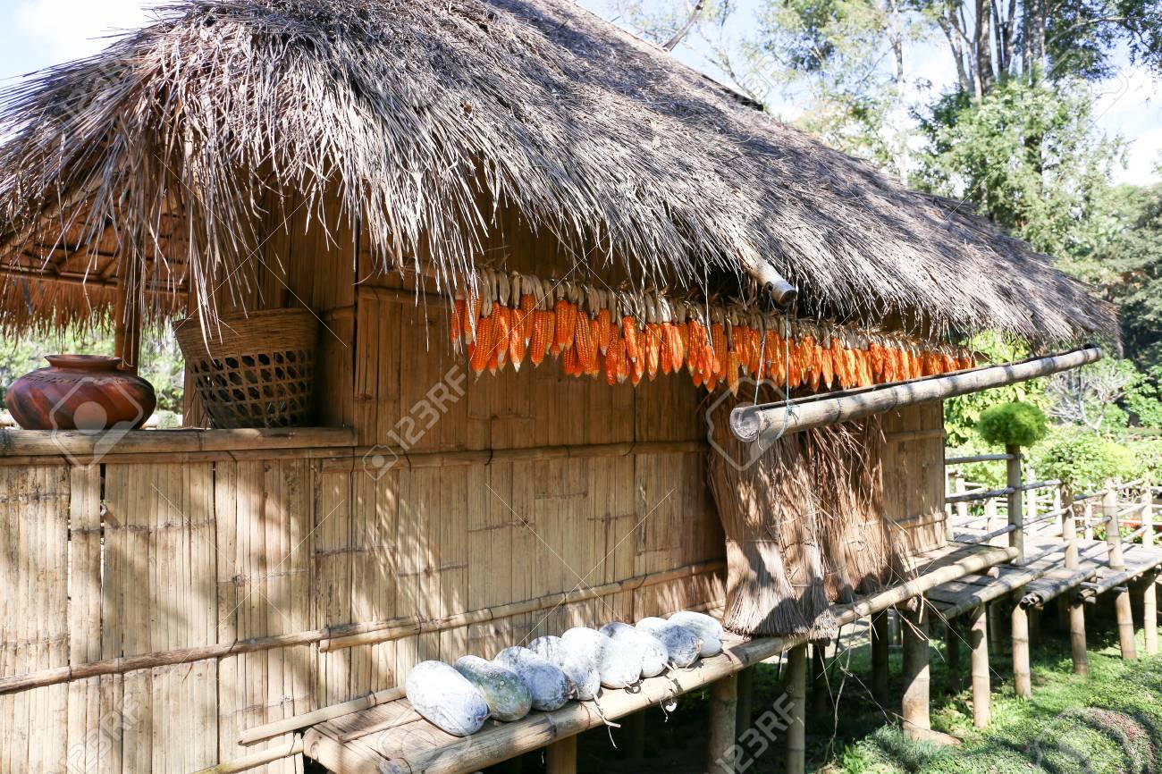 An Old Thai Country Style Hut At Doi Tung Royal Villa In Chiang