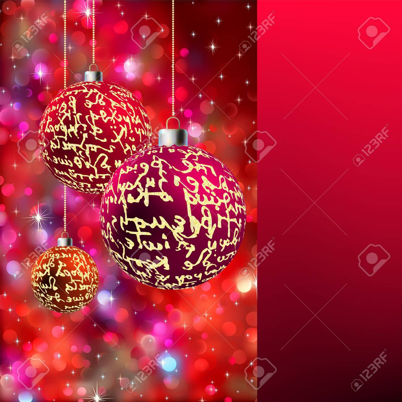 Three spheres with a gold ornament on a red background with spangles and Copyspace. EPS8 Stock Photo - 8187971