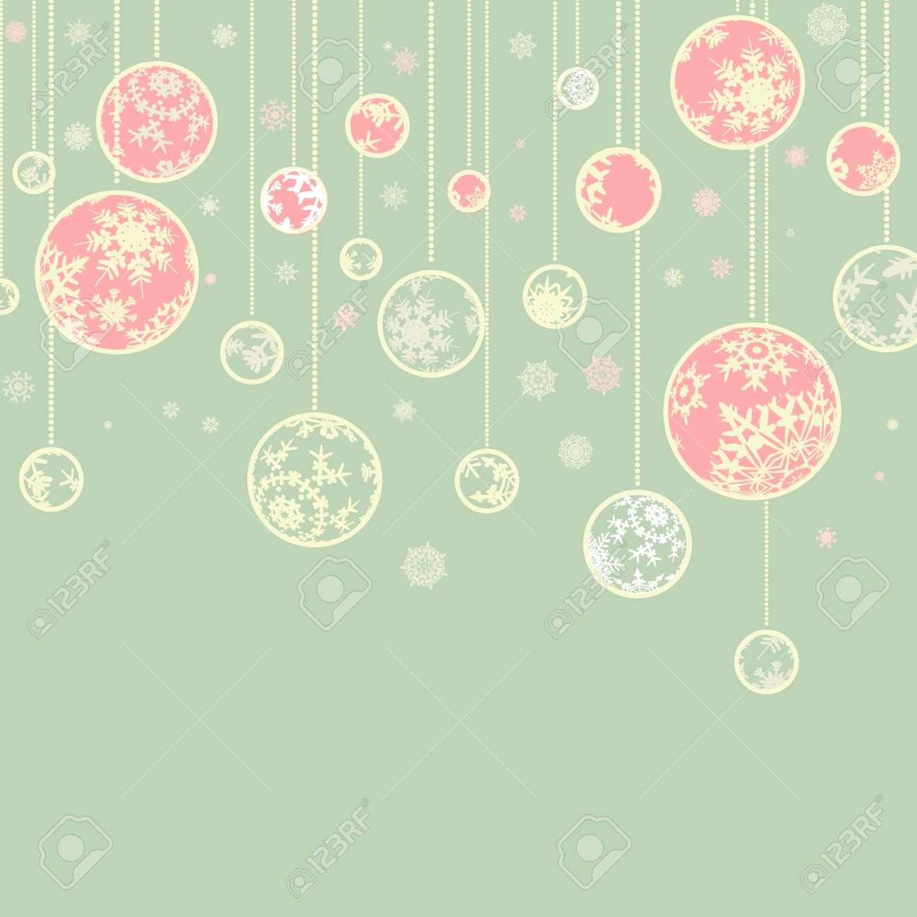 Retro christmas template with ball and snowflakes for vintage card design Stock Photo - 8315371