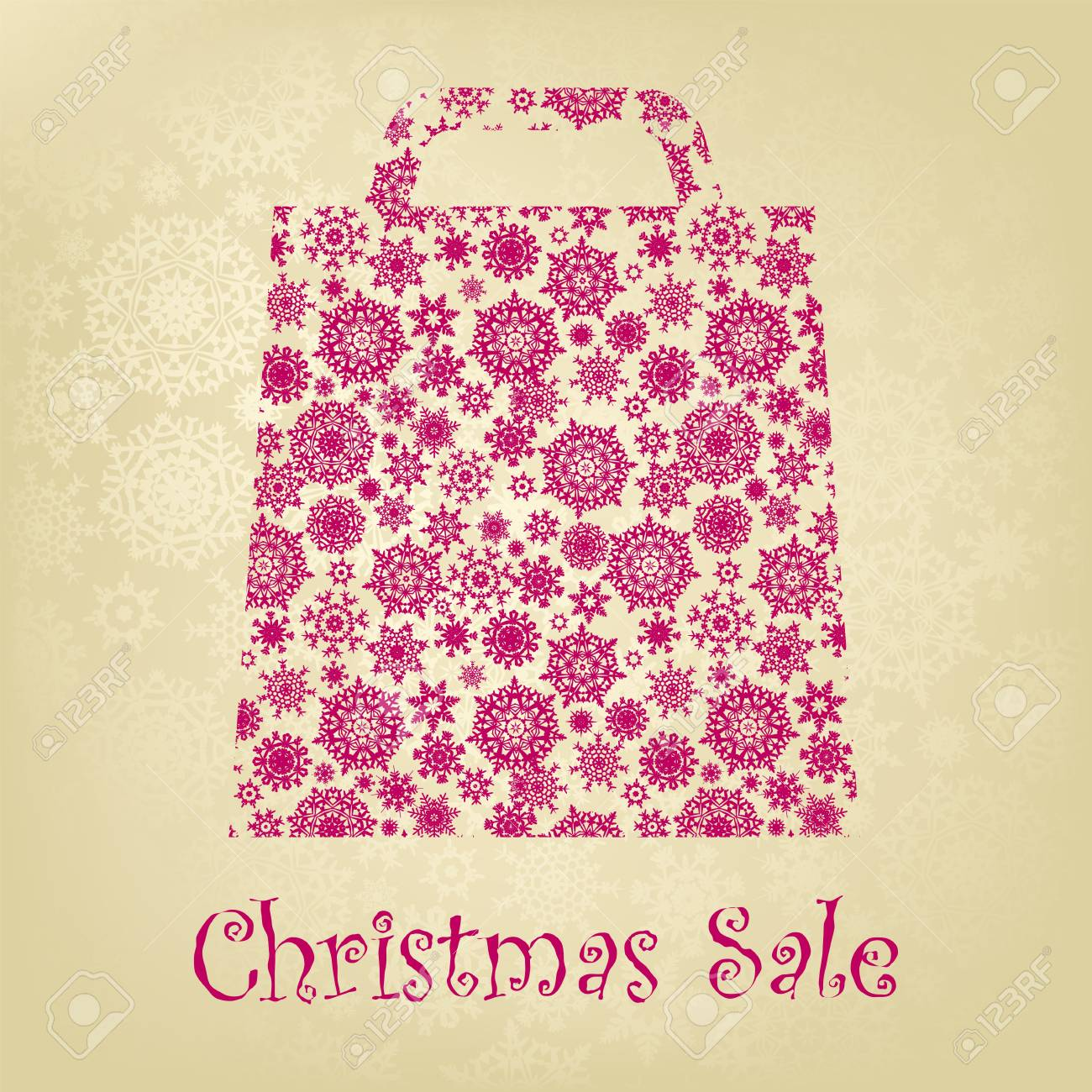 Bag For Shopping With snowflakes, On gold red Background. Stock Vector - 8521319