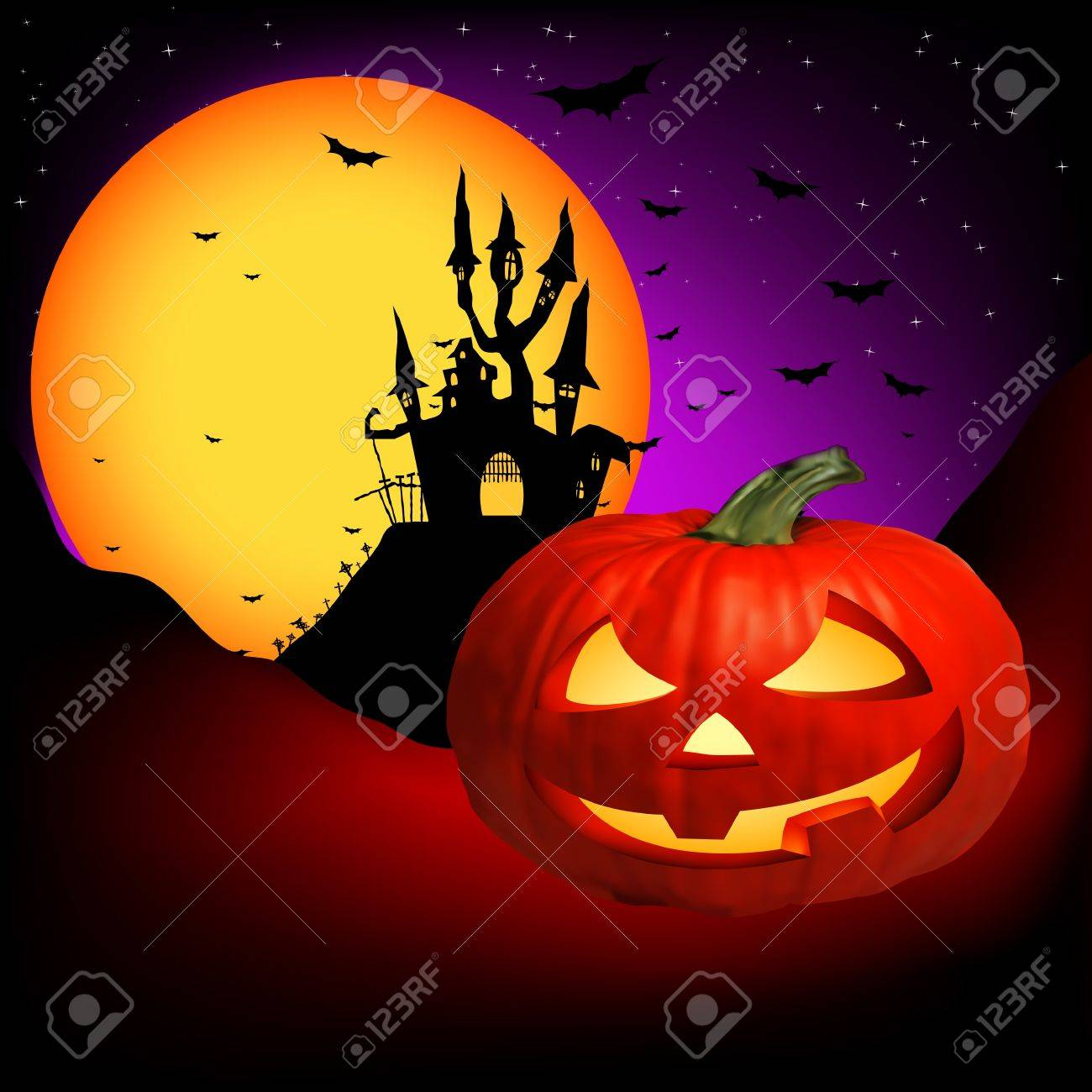 Vector Haunted House on a Graveyard hill at night with full moon. EPS 8 vector file included Stock Vector - 8917745