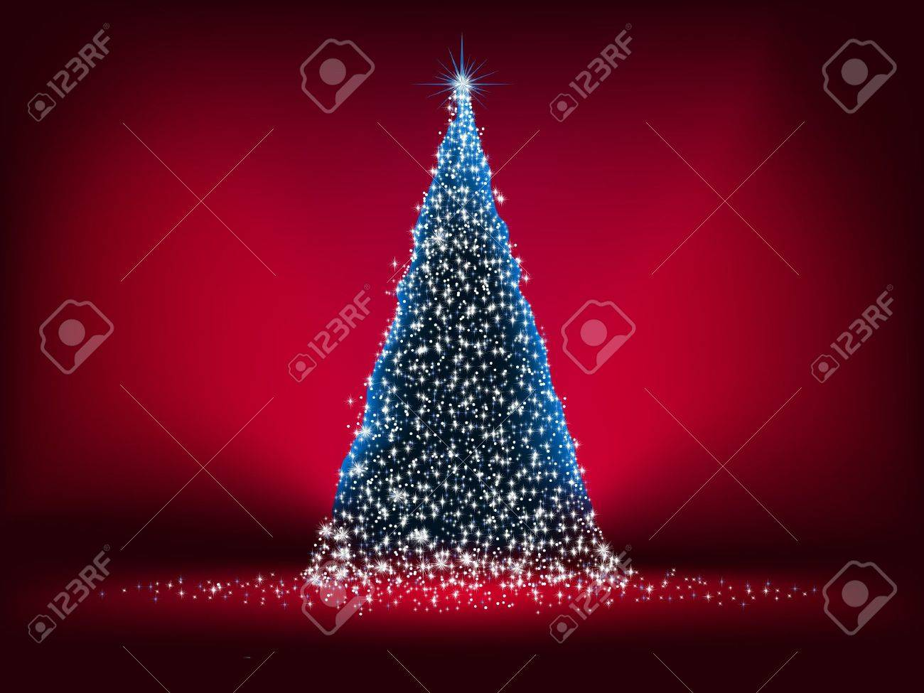 Abstract Christmas tree, with stars, snowflakes and light glow. EPS 8 vector file included Stock Vector - 9570825