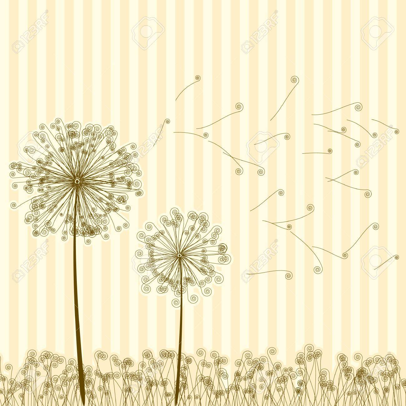 Vintage two dandelions in wind on light blue background. Stock Vector - 9714081