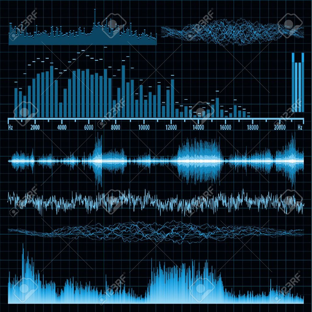Sound waves set. Music background. Stock Vector - 9714325