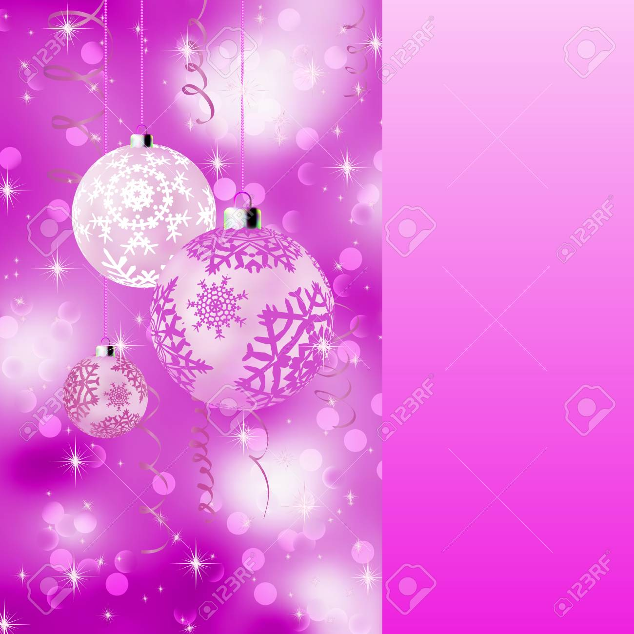 Pink card with christmas balls. EPS 8 vector file included Stock Vector - 9910178