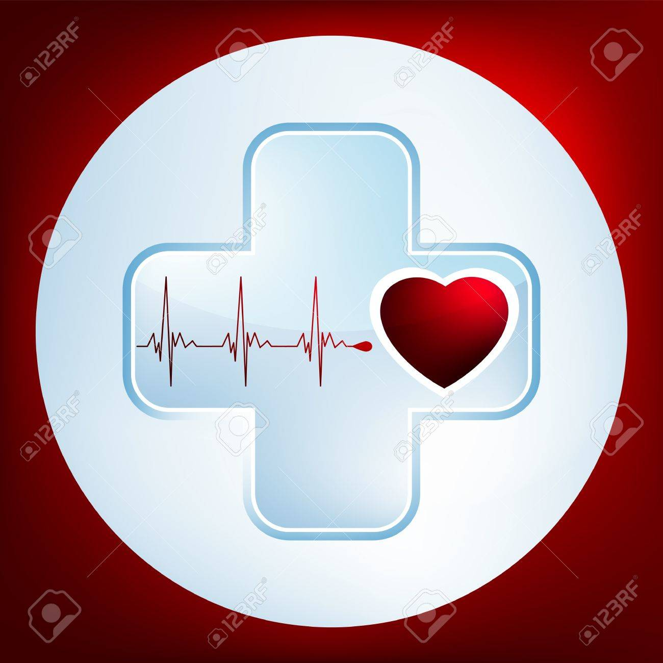 Heart and heartbeat symbol. Easy Editable Template. Without a transparency. EPS 8 vector file included Stock Vector - 9910237