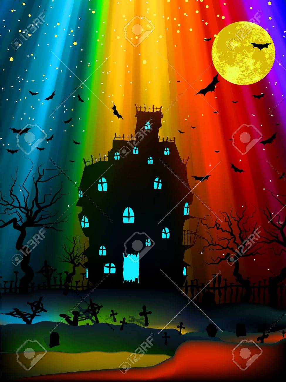 Halloween image with old mansion. EPS 8 vector file included Stock Vector - 9910249