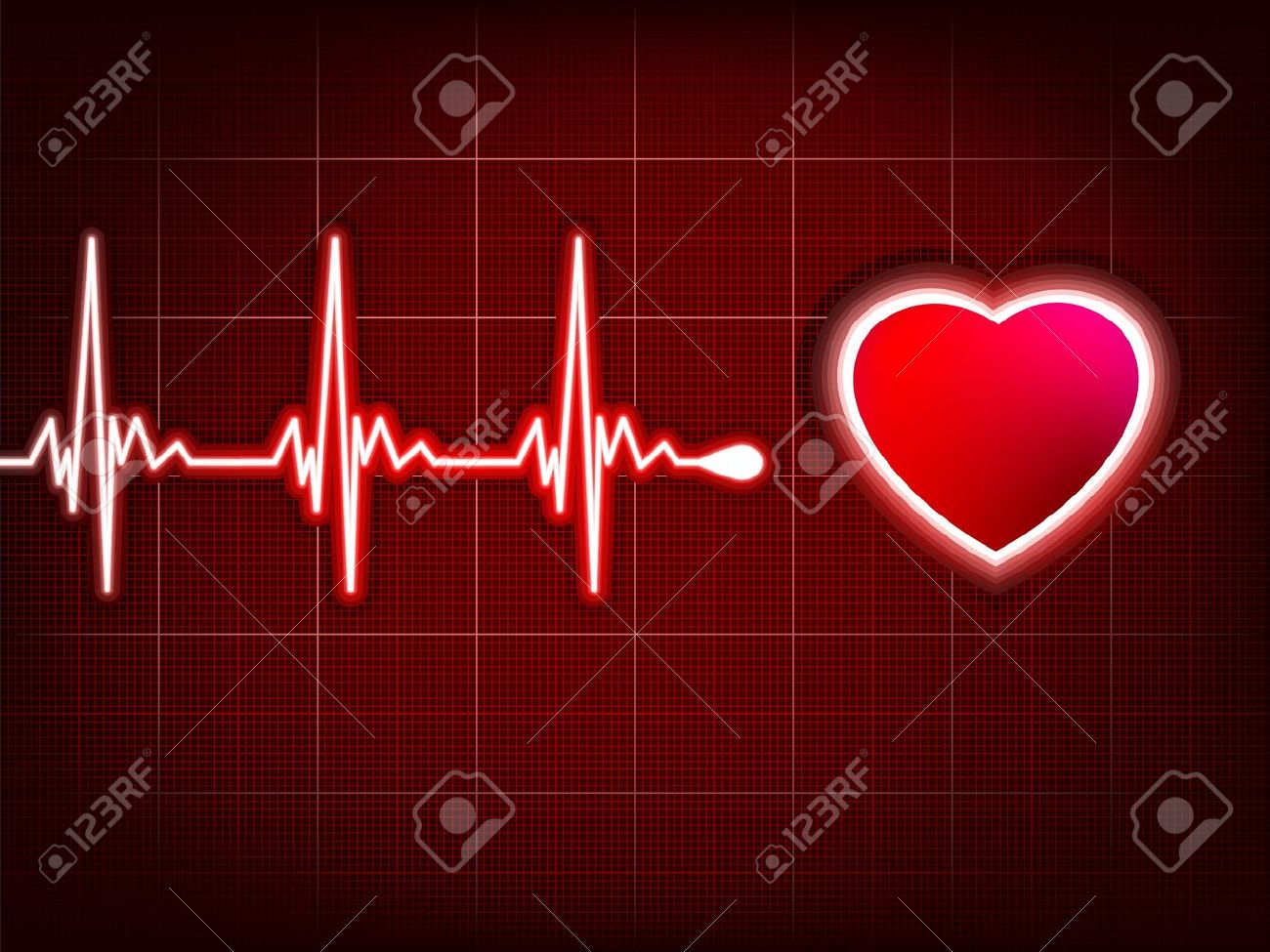 Heart cardiogram with shadow on it deep red. Stock Vector - 10687362