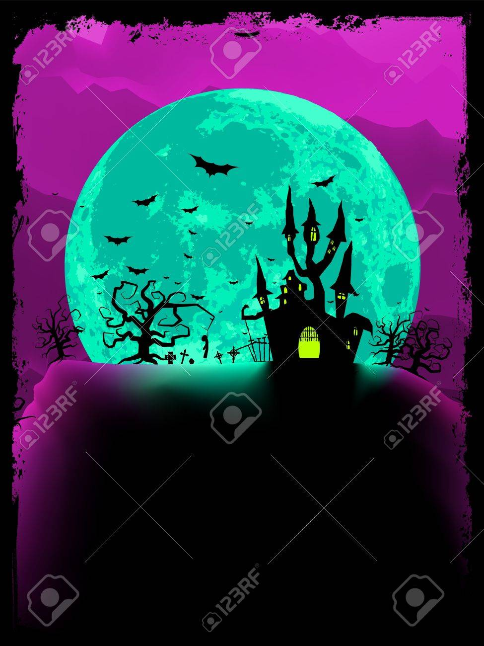 Scary halloween with magical abbey. Stock Vector - 10806651