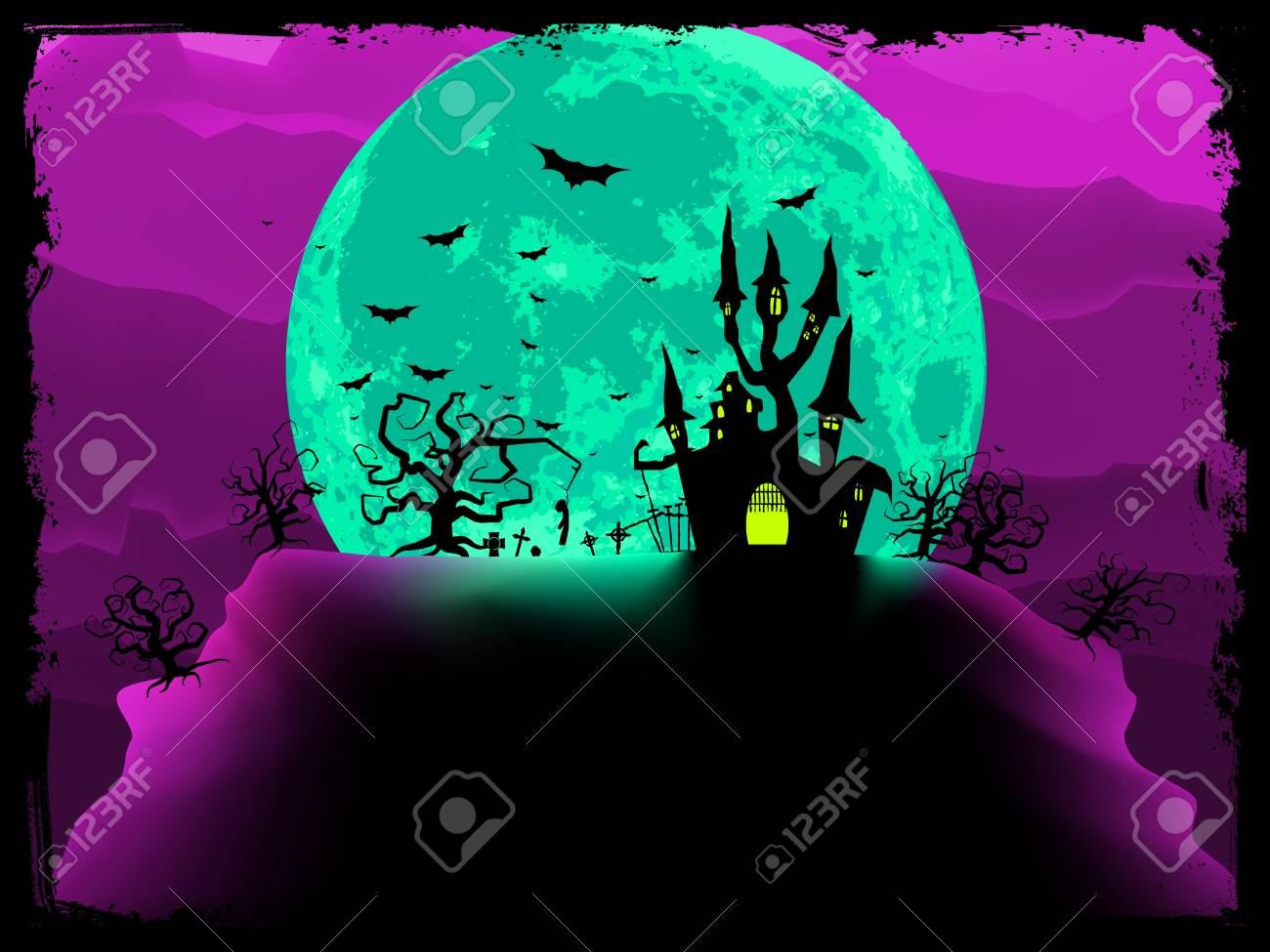 Scary halloween vector with magical abbey. Stock Vector - 10806668