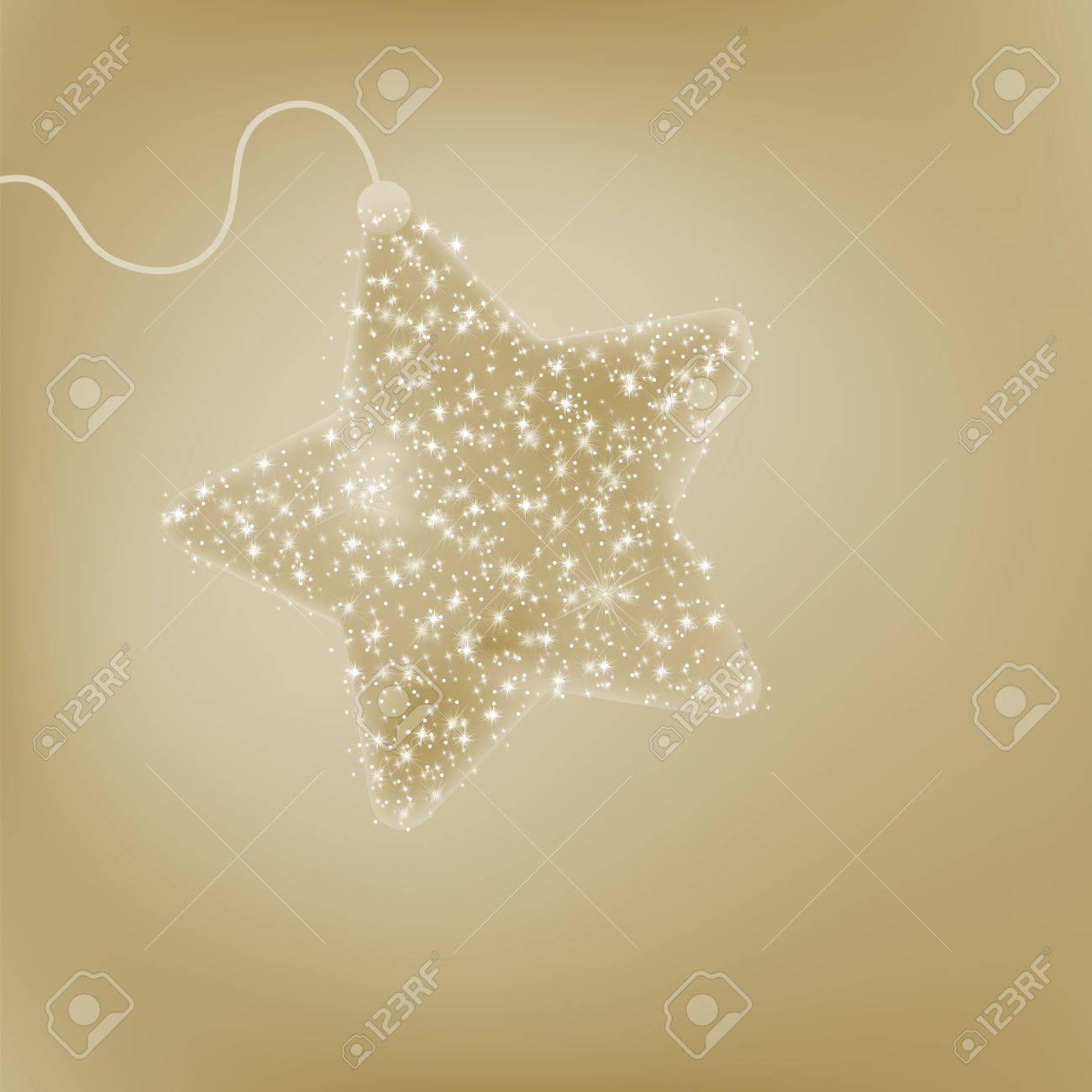 elegante estrella de la navidad tarjeta postal con una estrella brillando de color beige foto