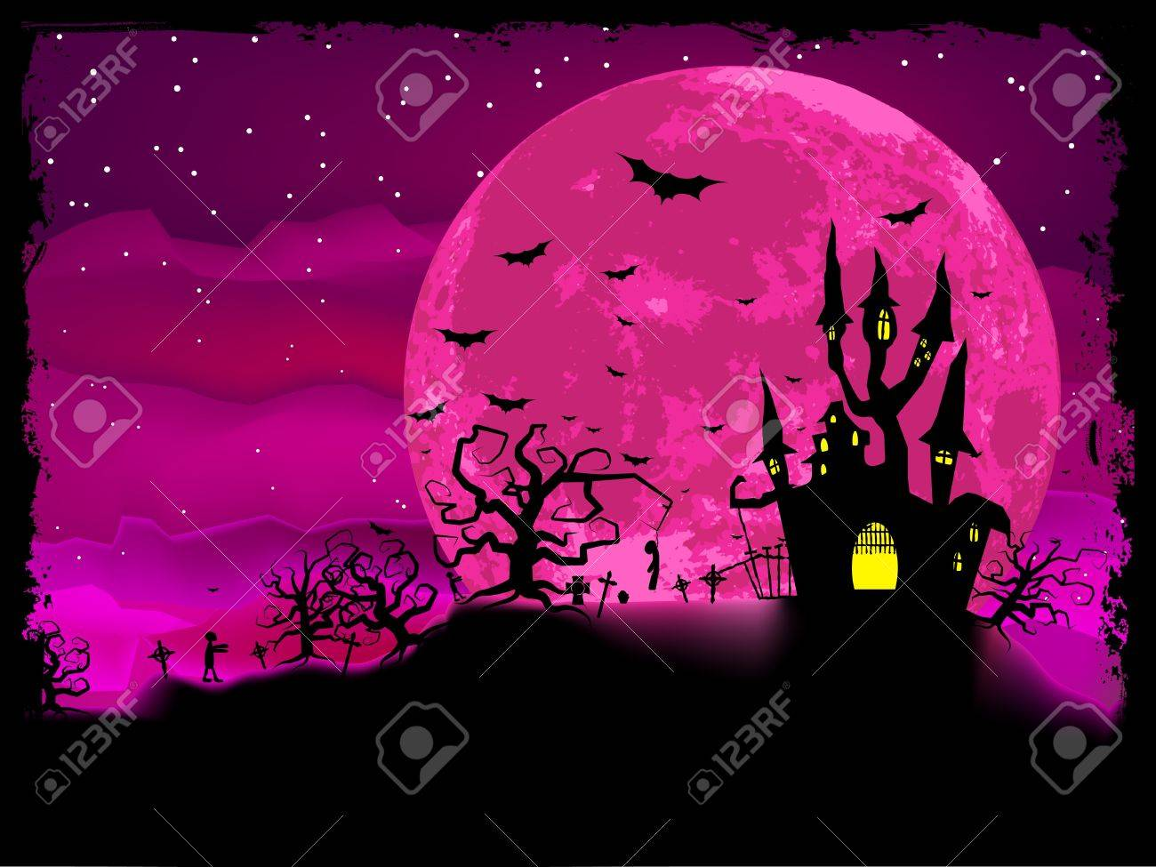 Halloween Poster With Zombie Background. Royalty Free Cliparts ...