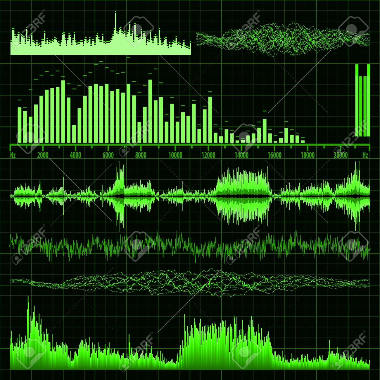 Sound waves set  Music background file included Stock Vector - 15515724