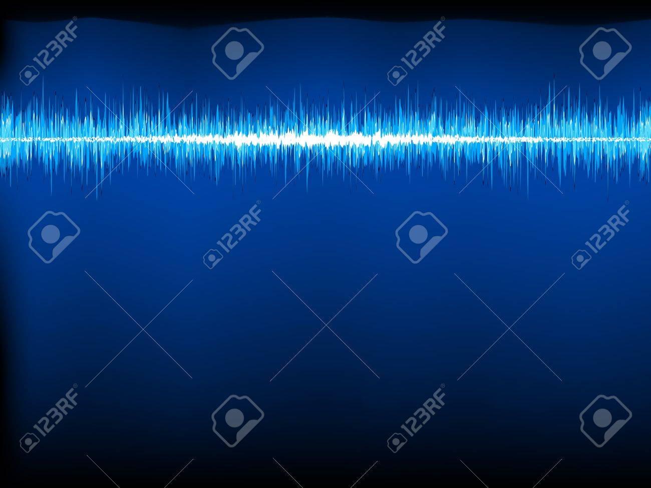 Sound waves oscillating on black background Stock Vector - 15350092
