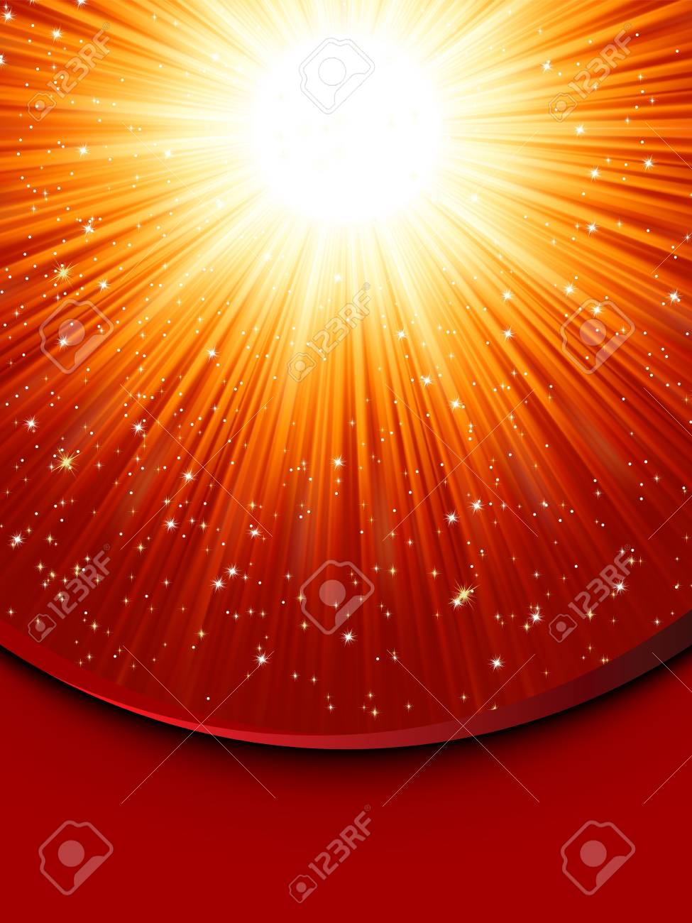 Snowflakes and stars descending on a path of golden light Stock Vector - 15691389