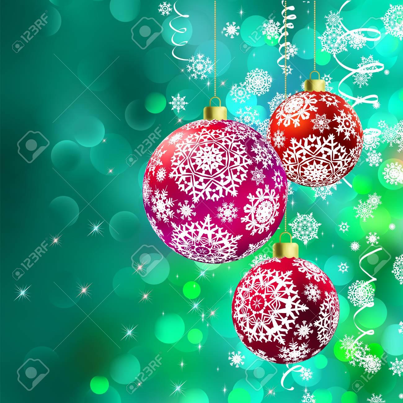 Christmas balls over green bokeh  And also includes vector Stock Vector - 16850029