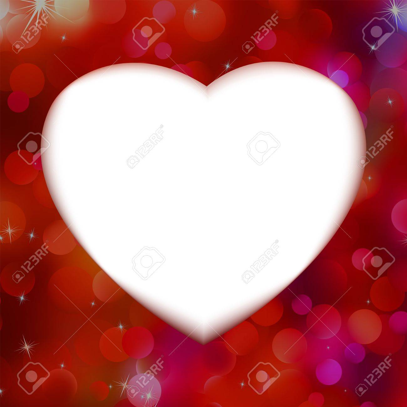 Red bokeh with white heart as background Stock Vector - 17047293