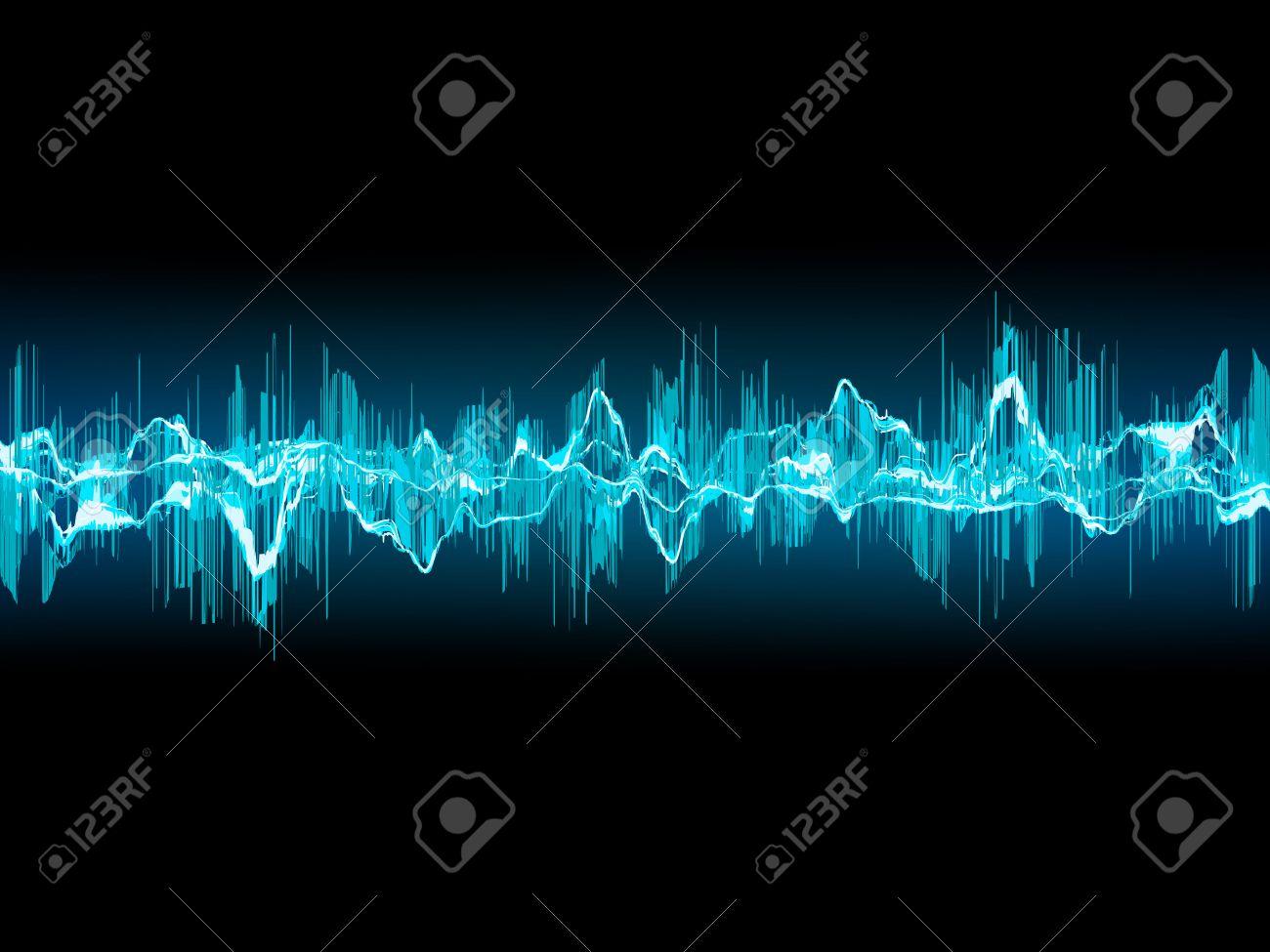 Lumineux Onde Sonore Sur Un Fond Bleu Fonce Clip Art Libres De