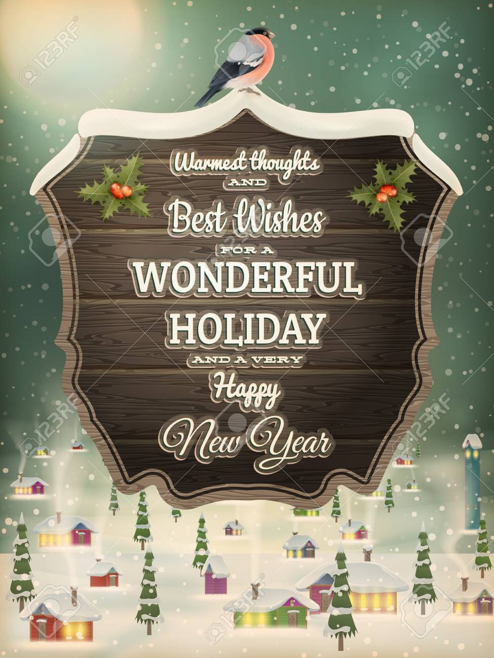 Weihnachtsgrüße Vintage.Christmas Greeting Calligraphy Vintage Street With Signboard