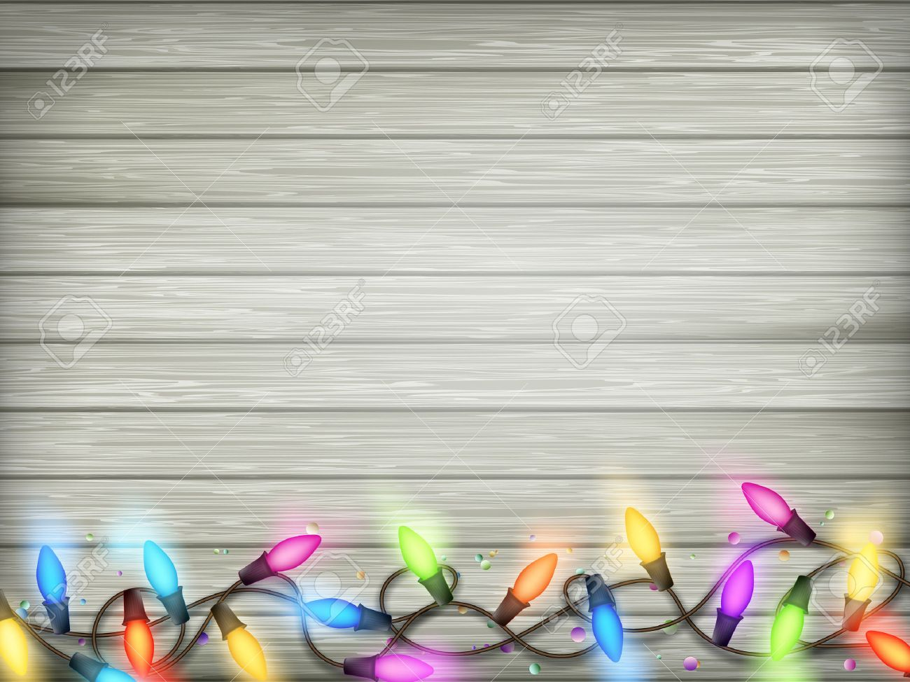Christmas Rustic Background - Vintage Planked Wood With Lights ...