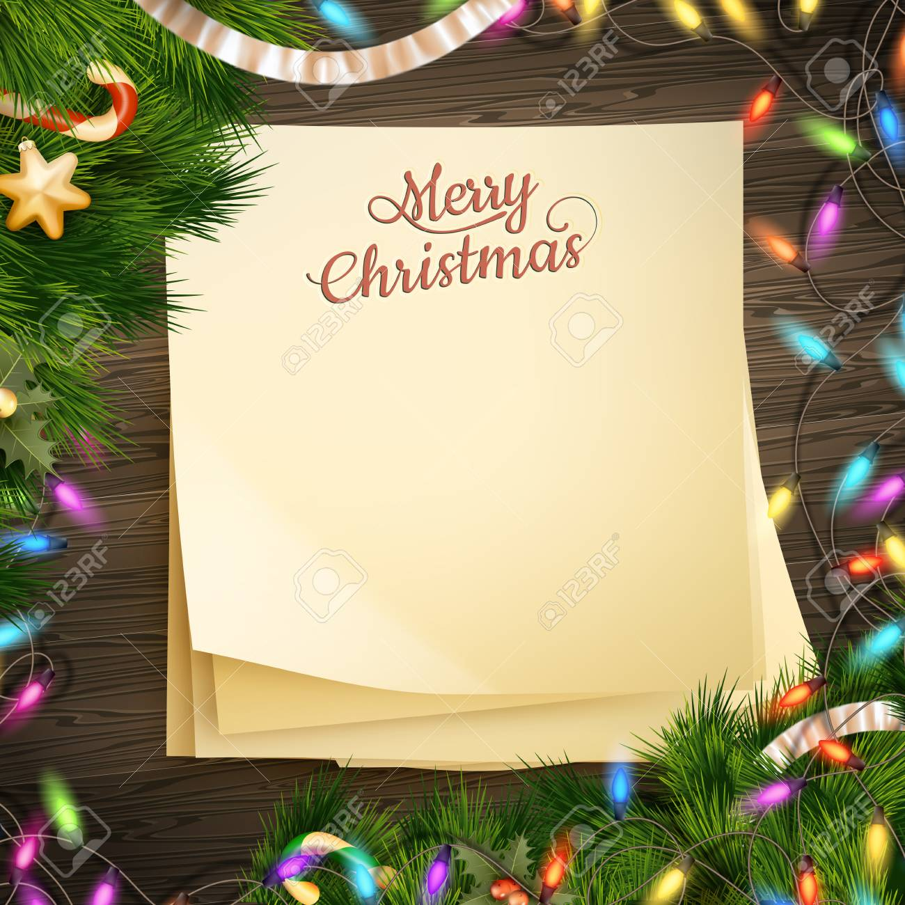 Paper Note Banner For Holidays Greeting Message And Christmas